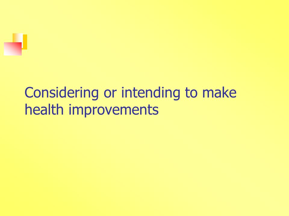 Considering or intending to make health improvements