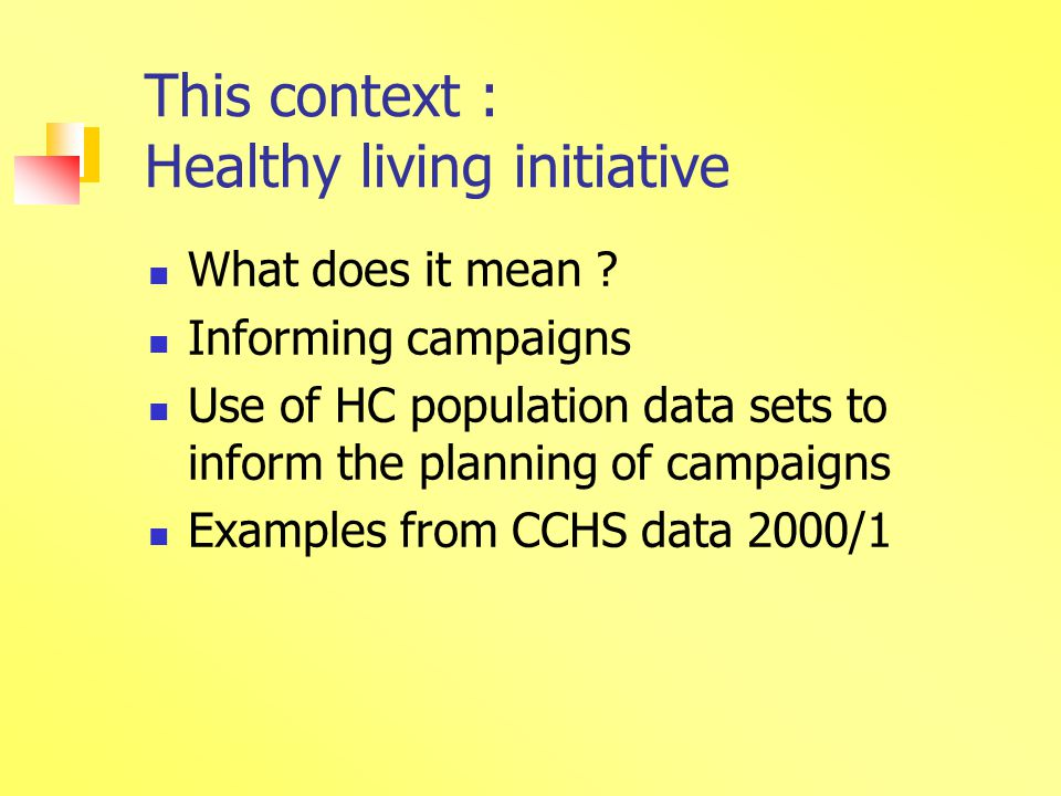 This context : Healthy living initiative What does it mean .