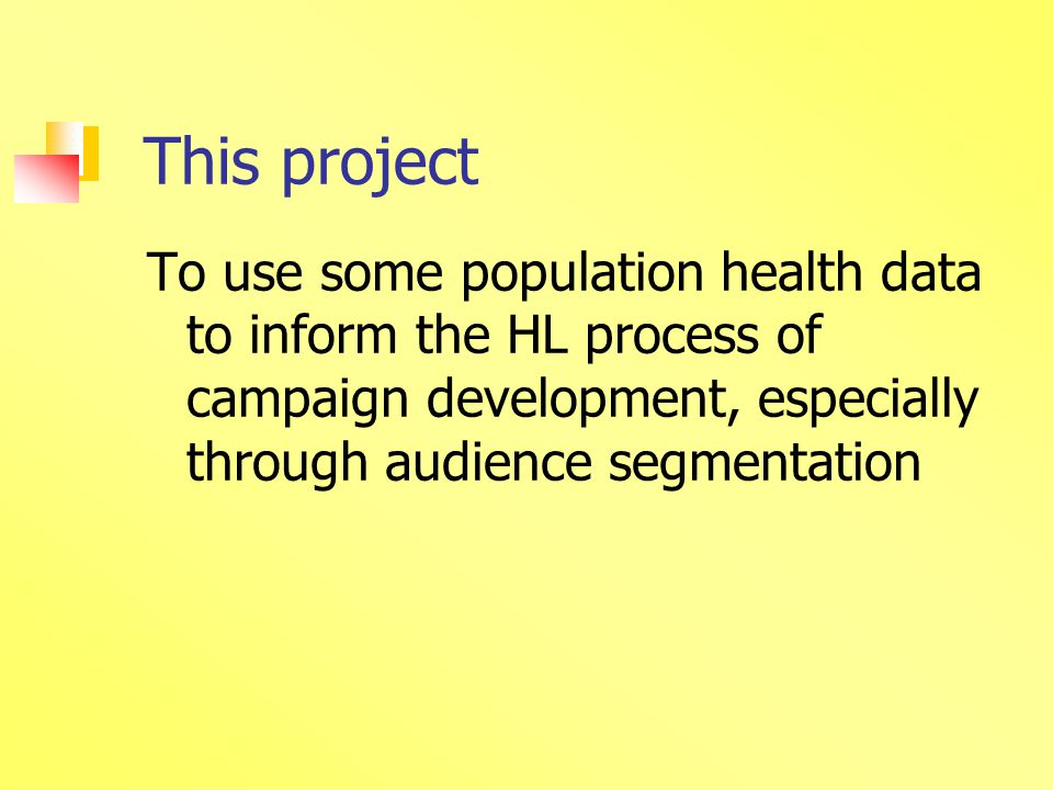 Phase 1 assess socio demographic correlates of each derived behave variable assess changes, importance, intention in relation to each outcome variable Phase 2 analyses profiles of specific groups as risk of healthy living or unhealthy living, and examine protective factors and resilience within the data and those groups, using the population data available.