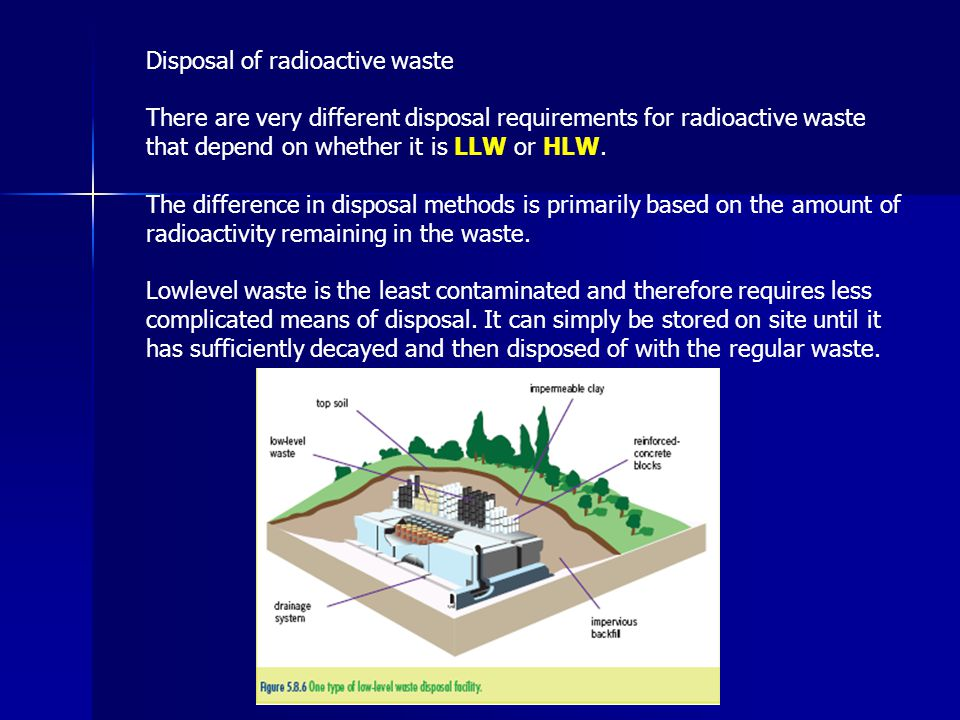 Disposal of radioactive waste There are very different disposal requirements for radioactive waste that depend on whether it is LLW or HLW. The differ