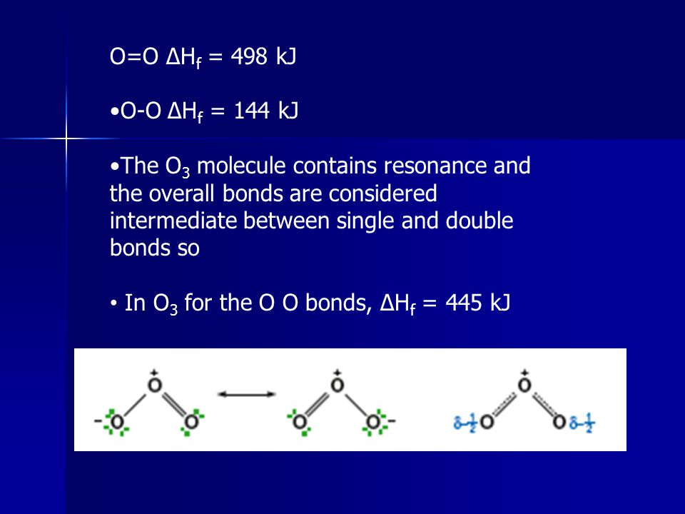 O=O ΔH f = 498 kJ O-O ΔH f = 144 kJ The O 3 molecule contains resonance and the overall bonds are considered intermediate between single and double bo