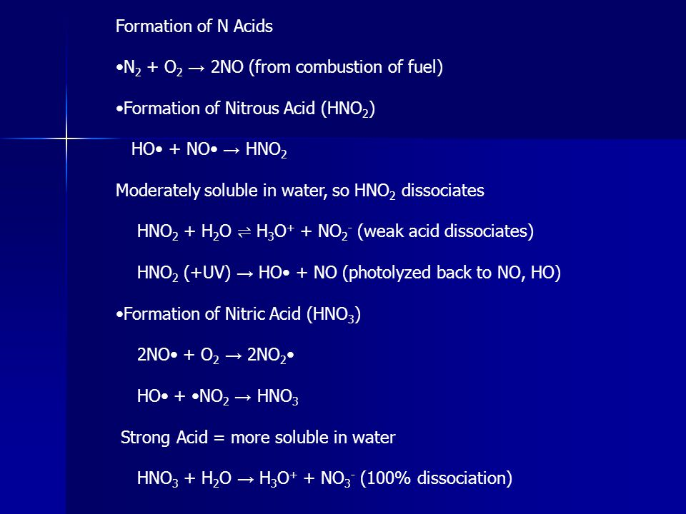 Formation of N Acids N 2 + O 2 → 2NO (from combustion of fuel) Formation of Nitrous Acid (HNO 2 ) HO + NO → HNO 2 Moderately soluble in water, so HNO