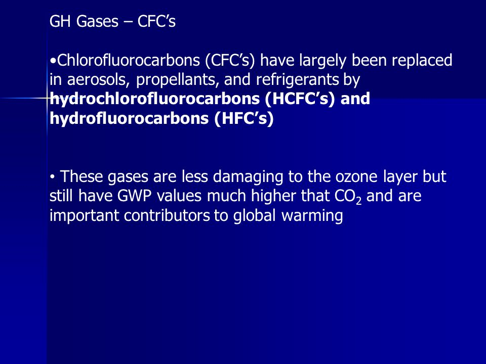GH Gases – CFC's Chlorofluorocarbons (CFC's) have largely been replaced in aerosols, propellants, and refrigerants by hydrochlorofluorocarbons (HCFC's