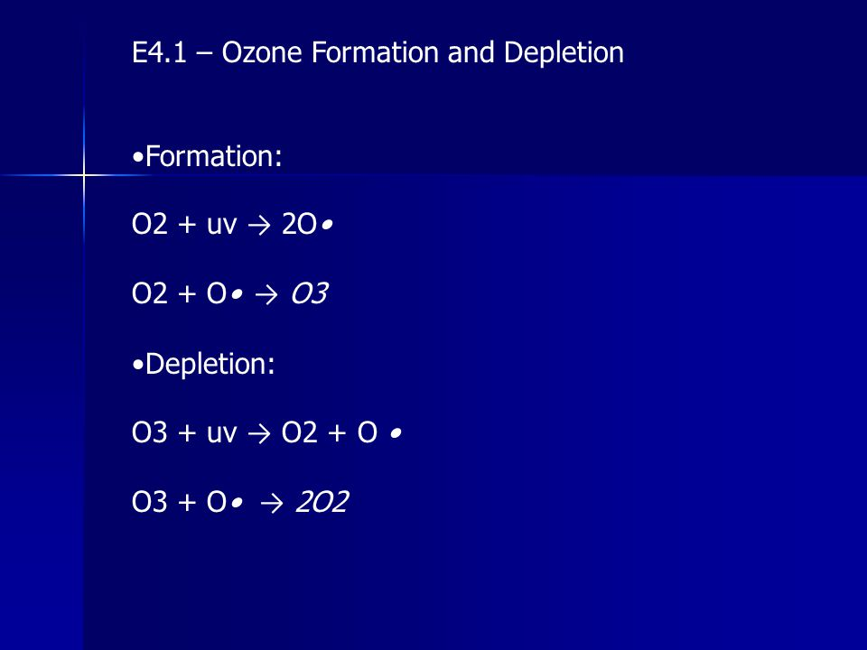E4.1 – Ozone Formation and Depletion Formation: O2 + uv → 2O O2 + O → O3 Depletion: O3 + uv → O2 + O O3 + O → 2O2