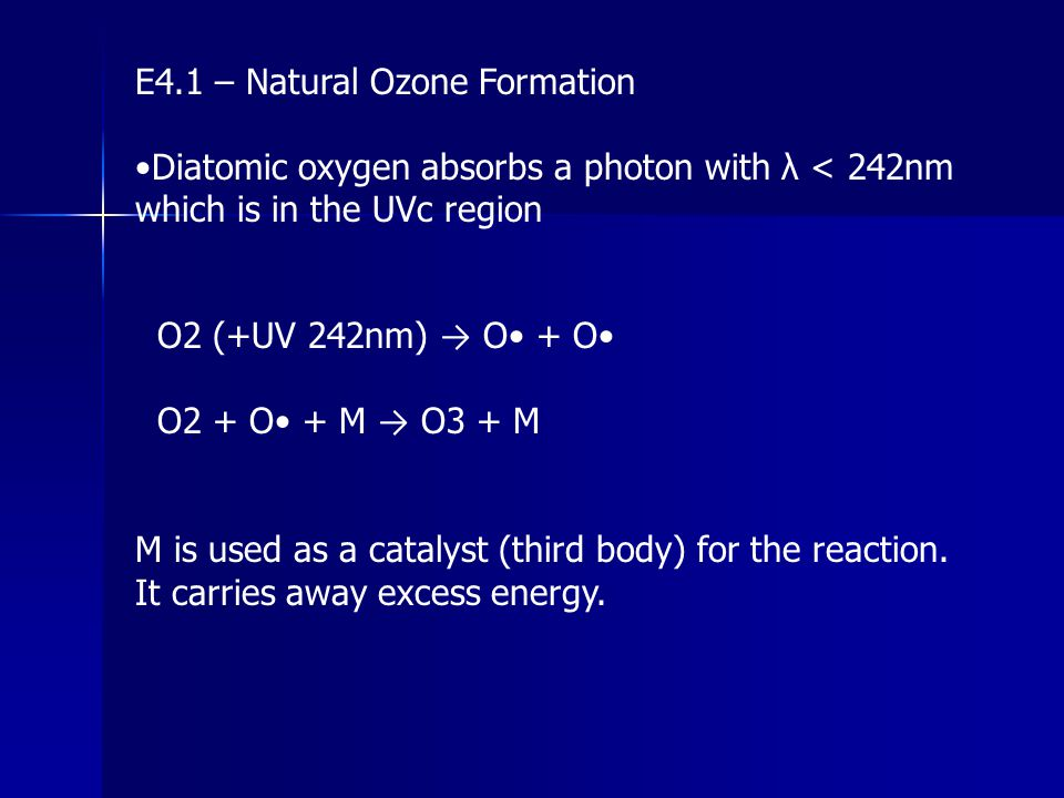 E4.1 – Natural Ozone Formation Diatomic oxygen absorbs a photon with λ < 242nm which is in the UVc region O2 (+UV 242nm) → O + O O2 + O + M → O3 + M M
