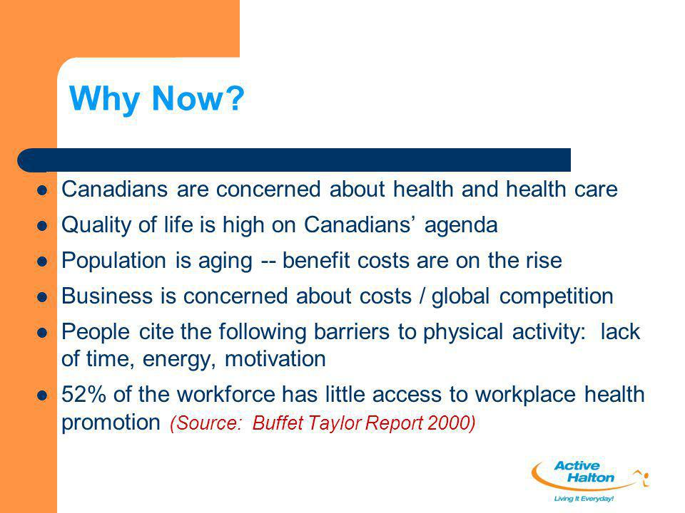 Why Now? Canadians are concerned about health and health care Quality of life is high on Canadians' agenda Population is aging -- benefit costs are on