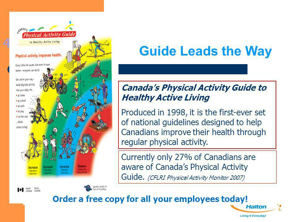 Guide Leads the Way 4 Canada's Physical Activity Guide to Healthy Active Living Produced in 1998, it is the first-ever set of national guidelines desi
