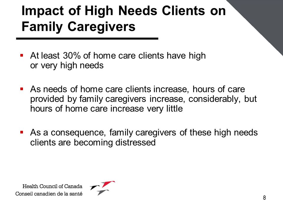 8 Impact of High Needs Clients on Family Caregivers  At least 30% of home care clients have high or very high needs  As needs of home care clients i