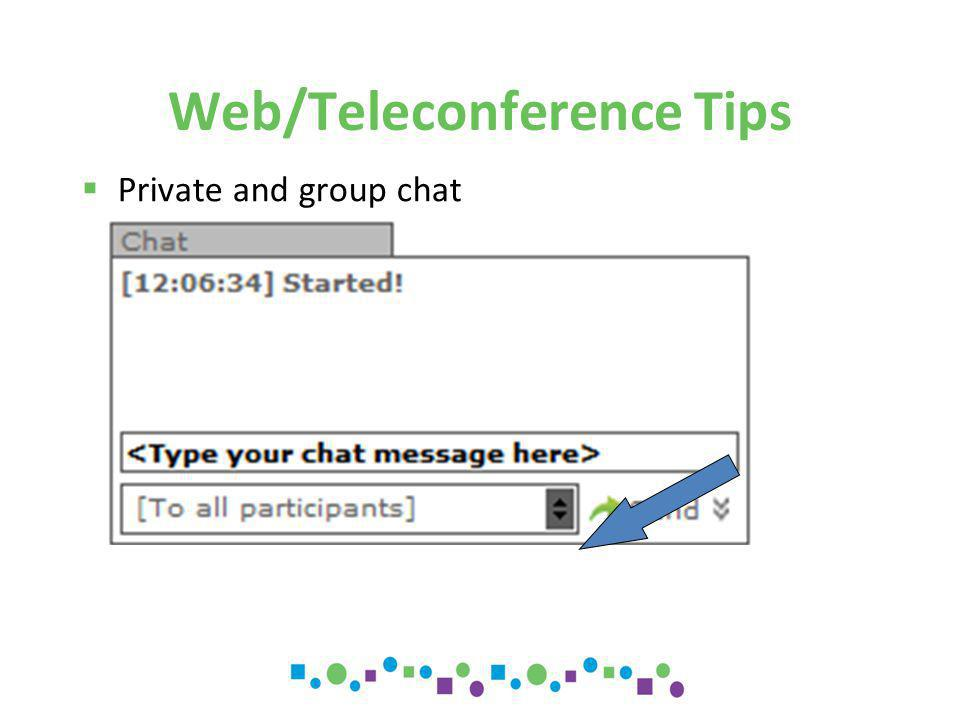 Web/Teleconference Tips  Size of screen  If the whole page is not displayed an image of the the page will appear for navigation  Disconnected.