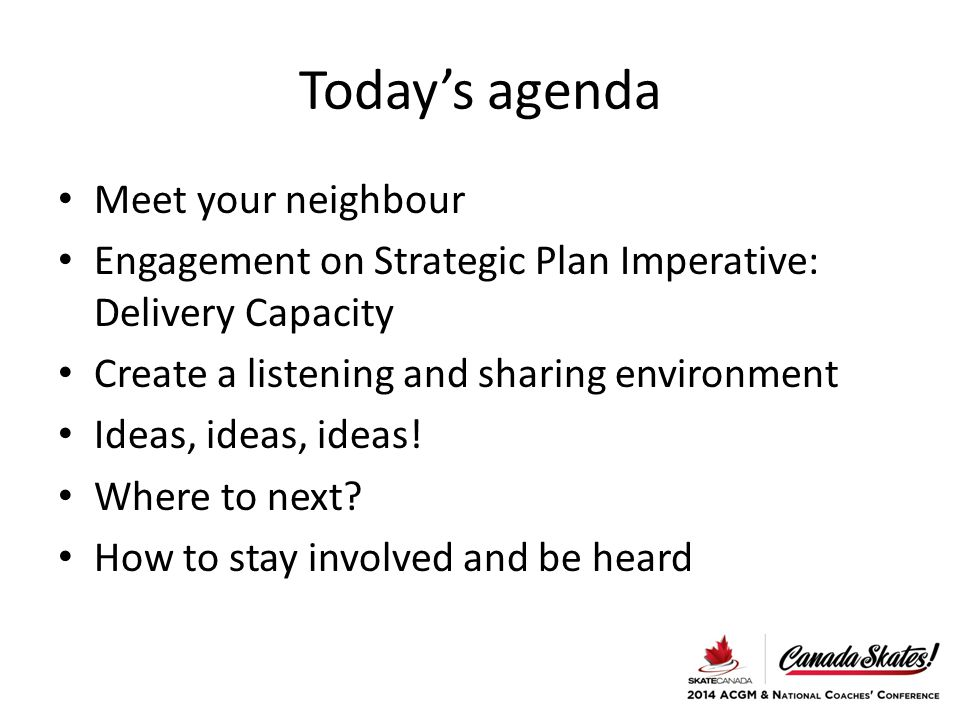 Today's agenda Meet your neighbour Engagement on Strategic Plan Imperative: Delivery Capacity Create a listening and sharing environment Ideas, ideas,