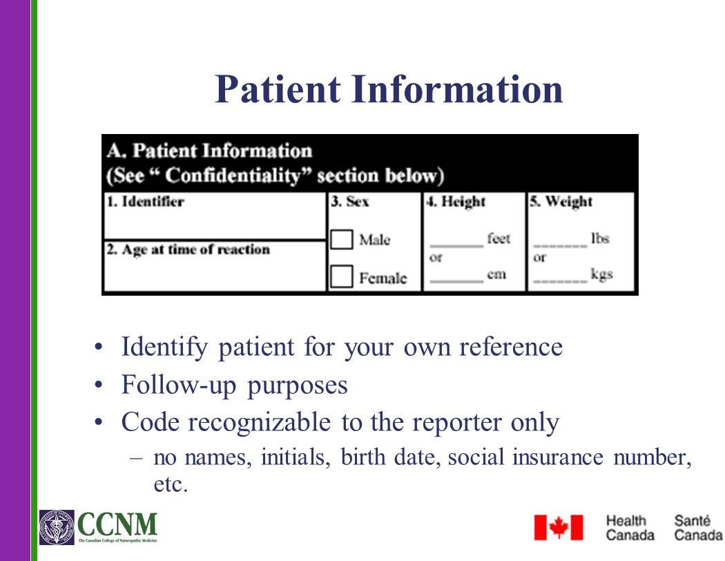 Patient Information Identify patient for your own reference Follow-up purposes Code recognizable to the reporter only –no names, initials, birth date,