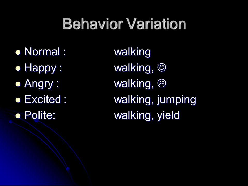 Behavior Variation Happy + Polite:walking, smile, yield Happy + Polite:walking, smile, yield Happy + Excited:walking, smile, jumping Happy + Excited:walking, smile, jumping Happy + Angry:X Happy + Angry:X Need rules.