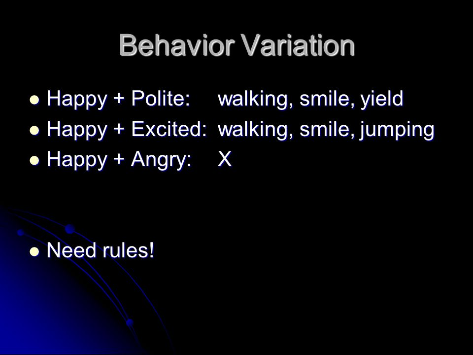 Behavior Variation Happy + Polite:walking, smile, yield Happy + Polite:walking, smile, yield Happy + Excited:walking, smile, jumping Happy + Excited:walking, smile, jumping Happy + Angry:X Happy + Angry:X Need rules.