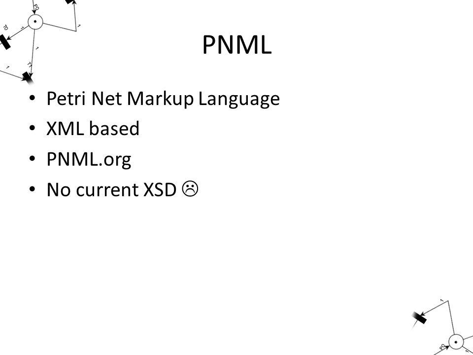 PNML Petri Net Markup Language XML based PNML.org No current XSD 