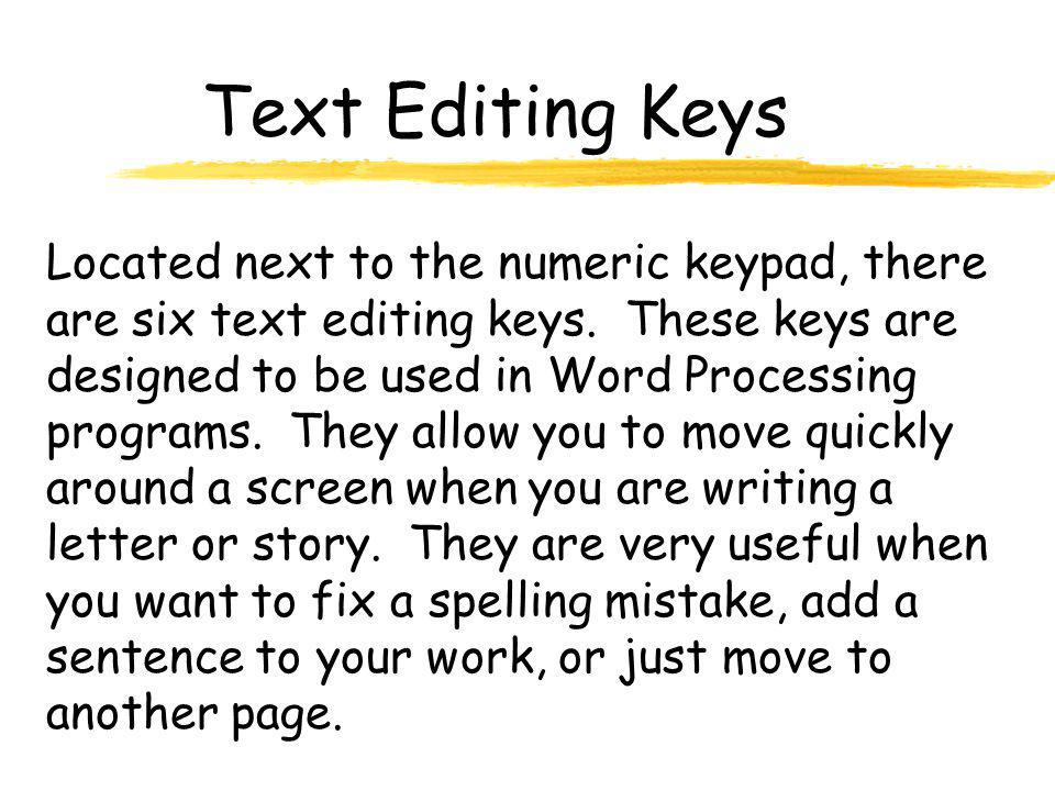 Text Editing Keys Located next to the numeric keypad, there are six text editing keys.