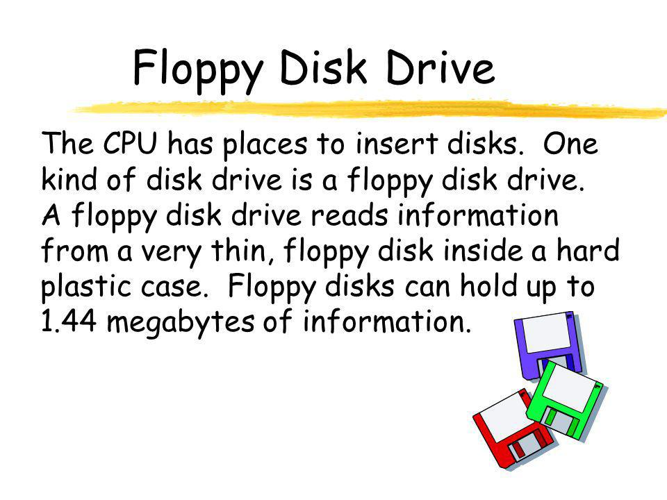 Floppy Disk Drive The CPU has places to insert disks.