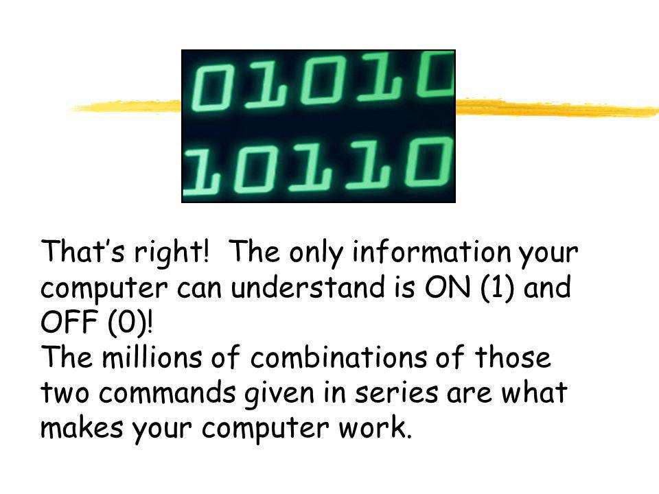 That's right.The only information your computer can understand is ON (1) and OFF (0).