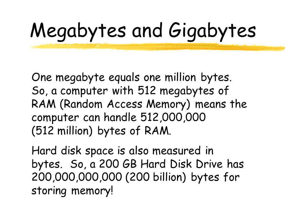 Megabytes and Gigabytes One megabyte equals one million bytes.