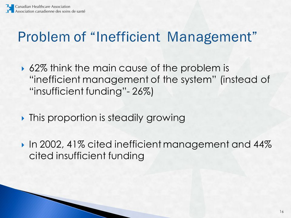  62% think the main cause of the problem is inefficient management of the system (instead of insufficient funding - 26%)  This proportion is steadily growing  In 2002, 41% cited inefficient management and 44% cited insufficient funding 16