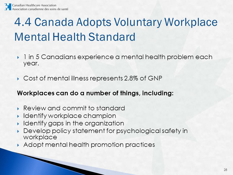  1 in 5 Canadians experience a mental health problem each year.