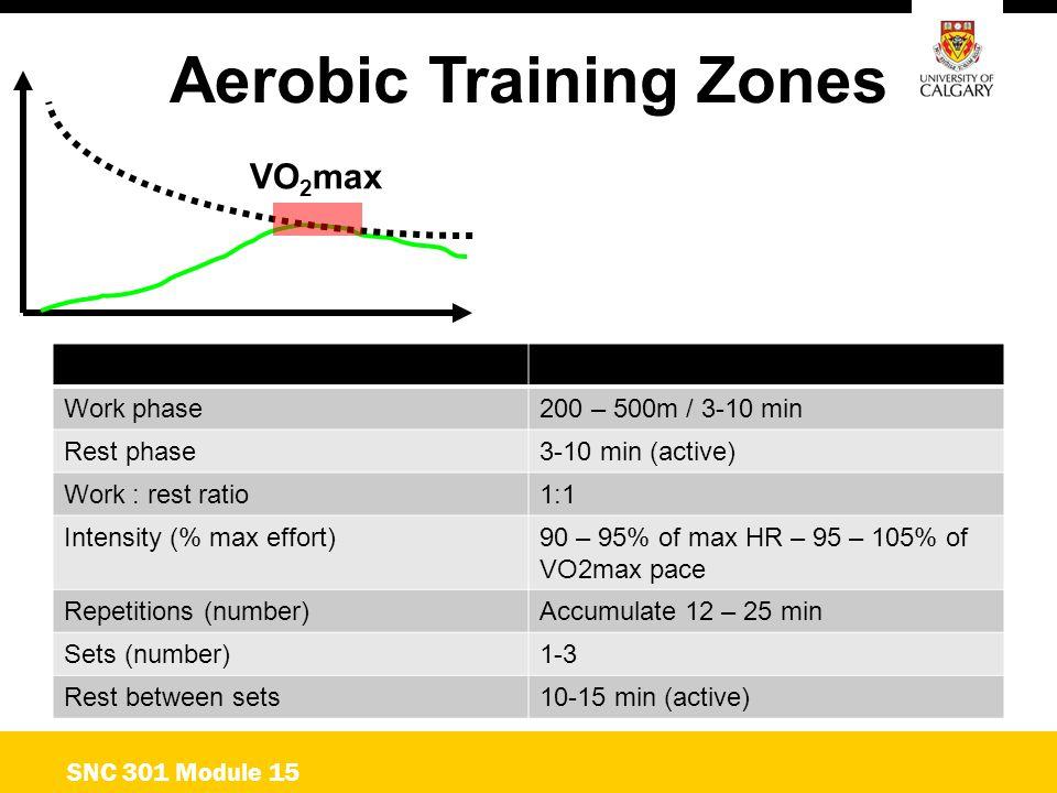 Aerobic Training Zones SNC 301 Module 15 VO 2 max Work phase200 – 500m / 3-10 min Rest phase3-10 min (active) Work : rest ratio1:1 Intensity (% max ef