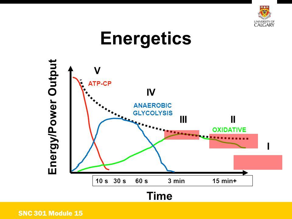 Energetics Energy/Power Output Time ATP-CP ANAEROBIC GLYCOLYSIS OXIDATIVE 10 s 30 s 60 s 3 min15 min+ SNC 301 Module 15 I IIIII IV V