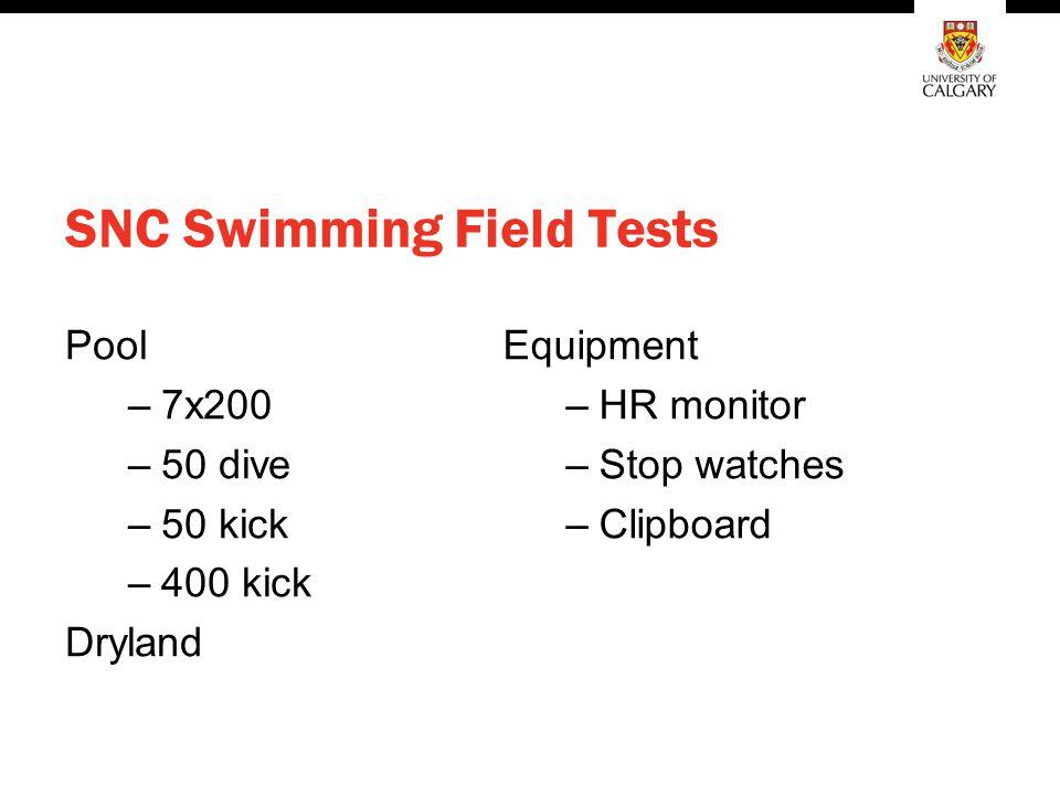 SNC Swimming Field Tests Pool –7x200 –50 dive –50 kick –400 kick Dryland Equipment –HR monitor –Stop watches –Clipboard