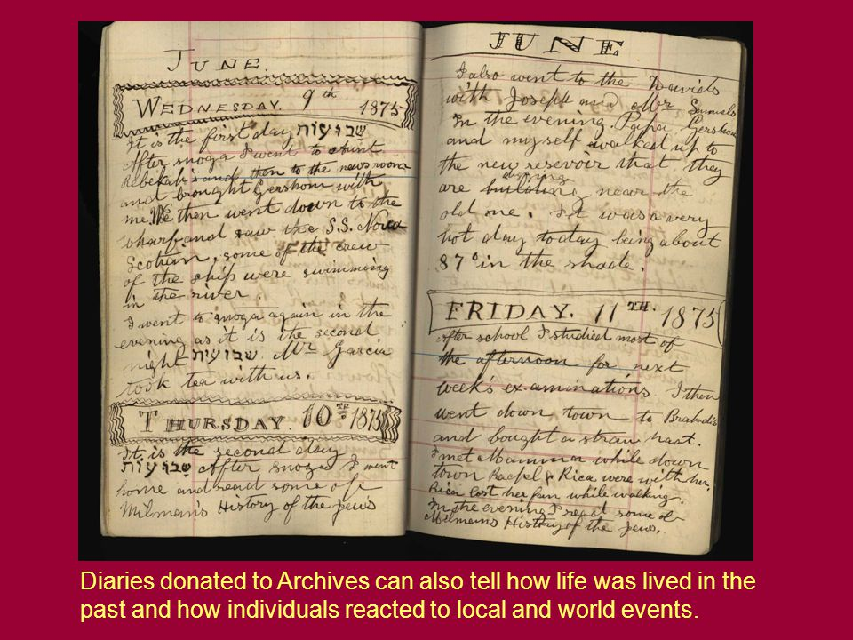 Diaries donated to Archives can also tell how life was lived in the past and how individuals reacted to local and world events.