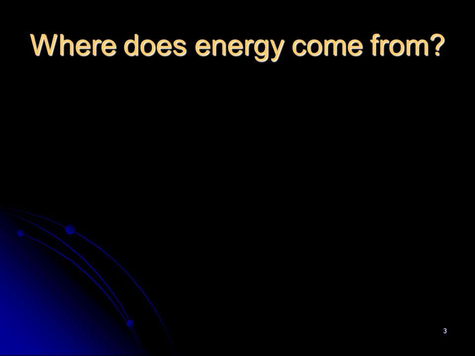 4 Where do we get our energy from.1. The Sun - Solar energy 2.