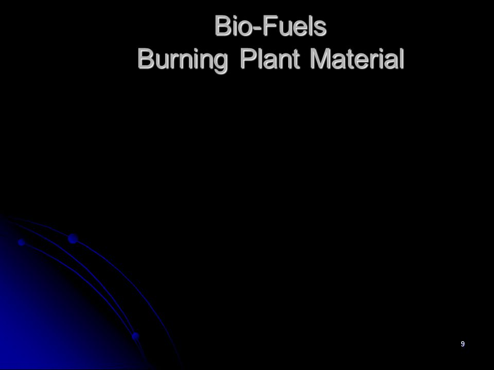 9 Bio-Fuels Burning Plant Material