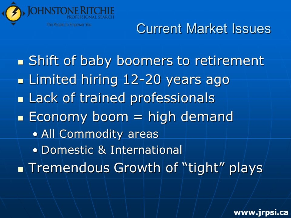 Current Market Issues Shift of baby boomers to retirement Shift of baby boomers to retirement Limited hiring years ago Limited hiring years ago Lack of trained professionals Lack of trained professionals Economy boom = high demand Economy boom = high demand All Commodity areasAll Commodity areas Domestic & InternationalDomestic & International Tremendous Growth of tight plays Tremendous Growth of tight plays
