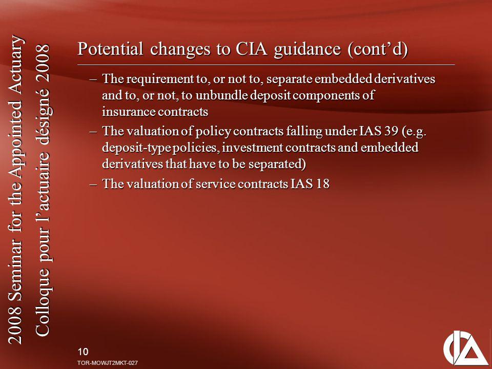2008 Seminar for the Appointed Actuary Colloque pour l'actuaire désigné 2008 10 TOR-MOWJT2MKT-027 Potential changes to CIA guidance (cont'd) –The requ