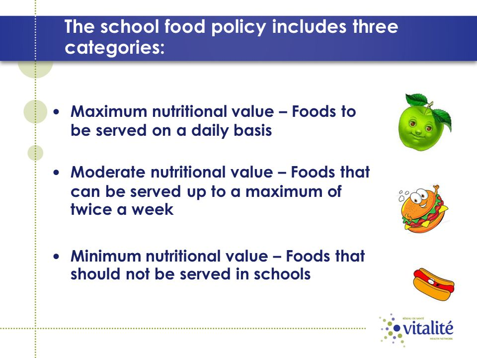 The school food policy includes three categories: Maximum nutritional value – Foods to be served on a daily basis Moderate nutritional value – Foods that can be served up to a maximum of twice a week Minimum nutritional value – Foods that should not be served in schools