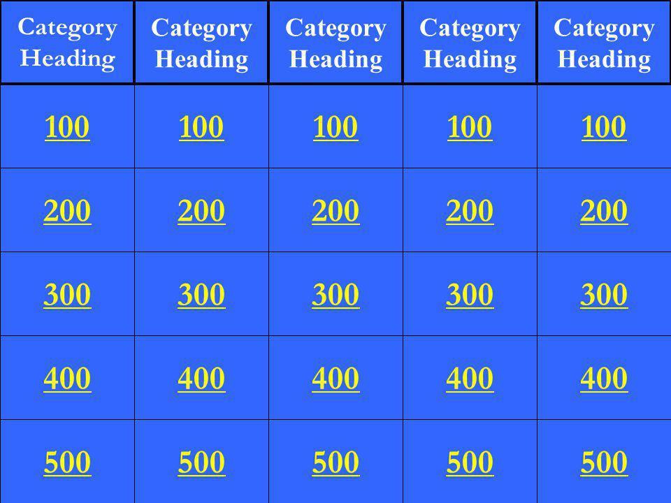 200 300 400 500 100 200 300 400 500 100 200 300 400 500 100 200 300 400 500 100 200 300 400 500 100 Category Heading Category Heading Category Heading Category Heading Category Heading