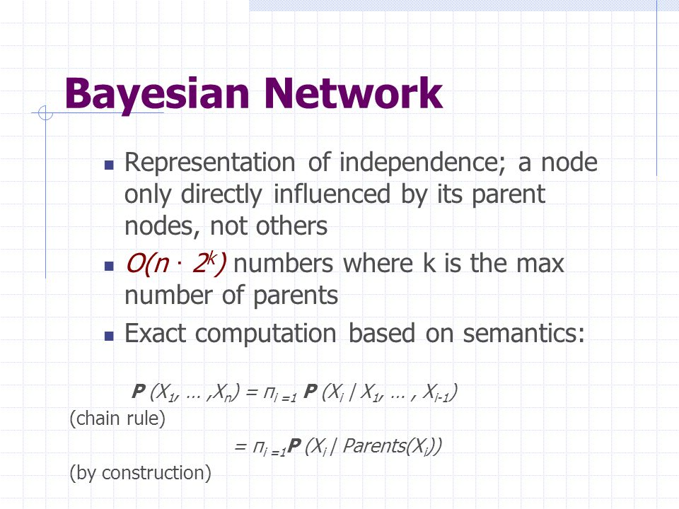 Bayesian Network Representation of independence; a node only directly influenced by its parent nodes, not others O(n · 2 k ) numbers where k is the ma
