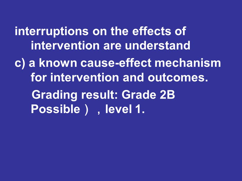 interruptions on the effects of intervention are understand c) a known cause-effect mechanism for intervention and outcomes.
