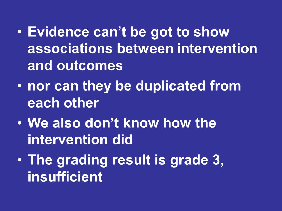 Evidence can't be got to show associations between intervention and outcomes nor can they be duplicated from each other We also don't know how the intervention did The grading result is grade 3, insufficient