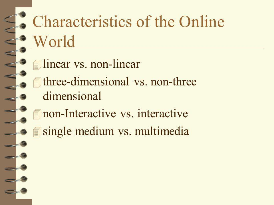 Characteristics of the Online World 4 writing differently for interactivity 4 multimedia - audio, video, animation, 3D 4 marriage of multimedia and interactivity