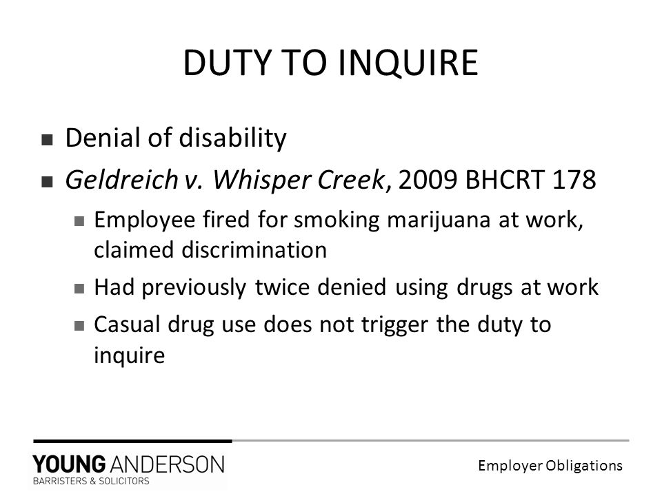 Employer Obligations Denial of disability Geldreich v.