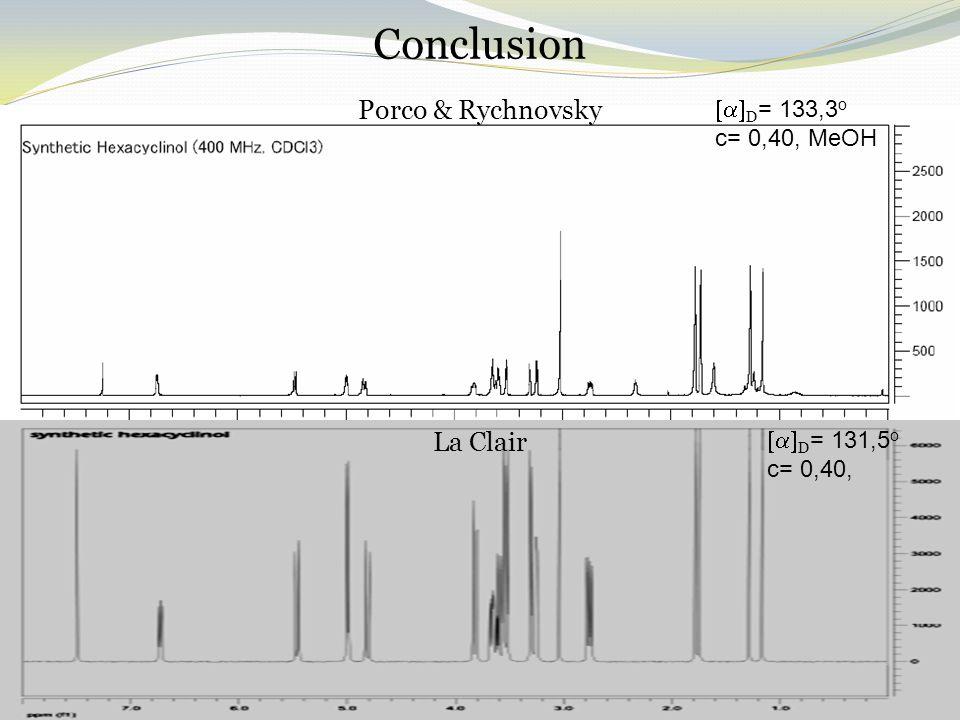 Conclusion Porco & Rychnovsky La Clair  D = 133,3 o c= 0,40, MeOH  D = 131,5 o c= 0,40,