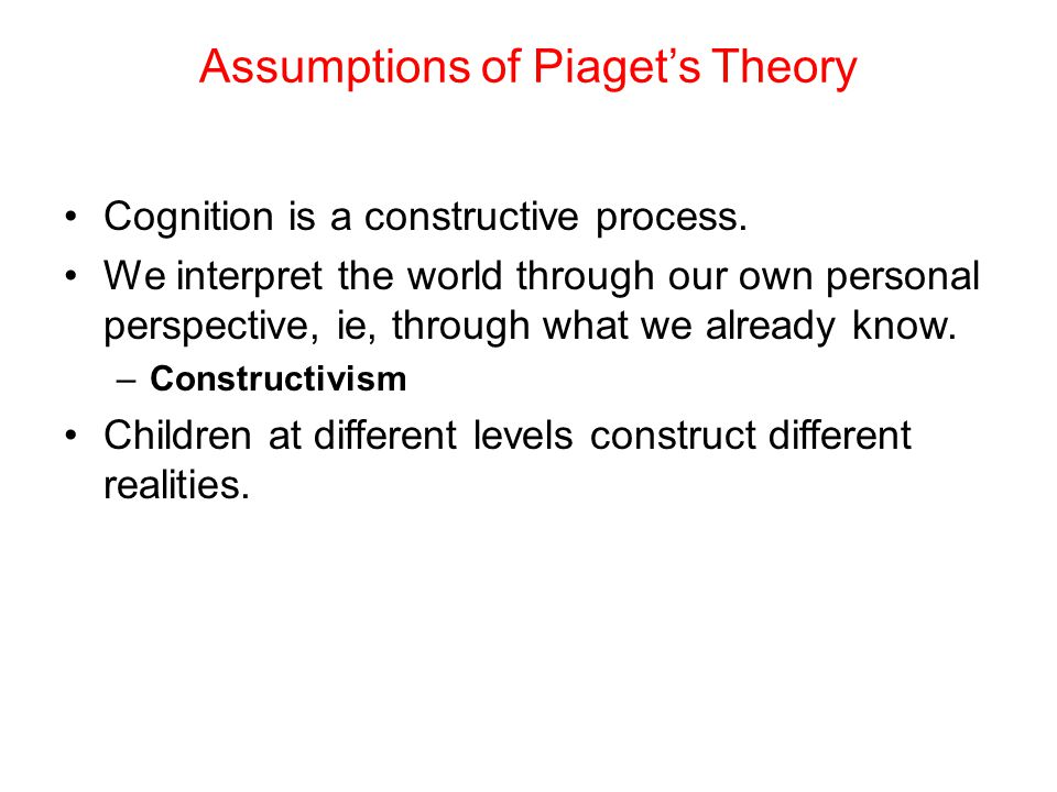 Cognition is a constructive process. We interpret the world through our own personal perspective, ie, through what we already know. –Constructivism Ch