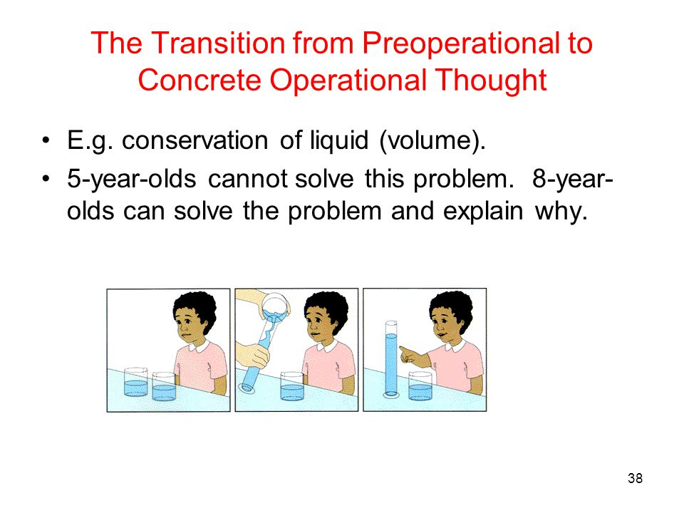 The Transition from Preoperational to Concrete Operational Thought E.g. conservation of liquid (volume). 5-year-olds cannot solve this problem. 8-year