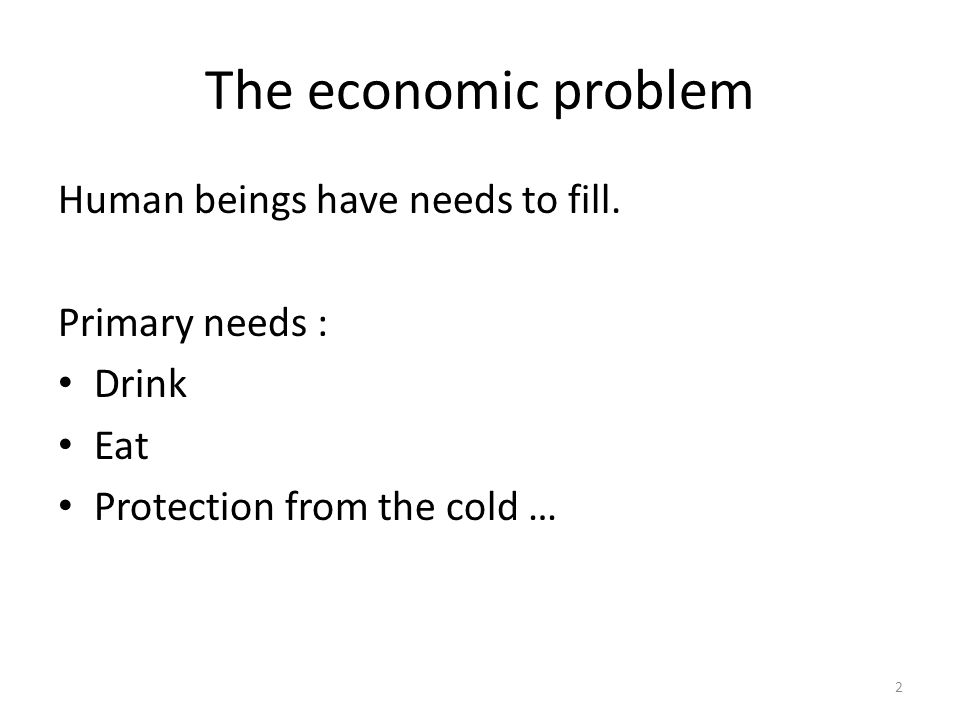 The economic problem Human beings have needs to fill. Primary needs : Drink Eat Protection from the cold … 2