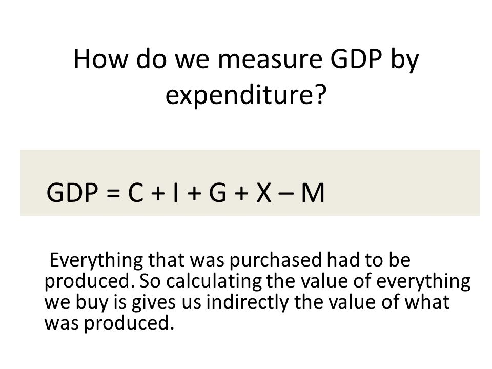 How do we measure GDP by expenditure? GDP = C + I + G + X – M Everything that was purchased had to be produced. So calculating the value of everything