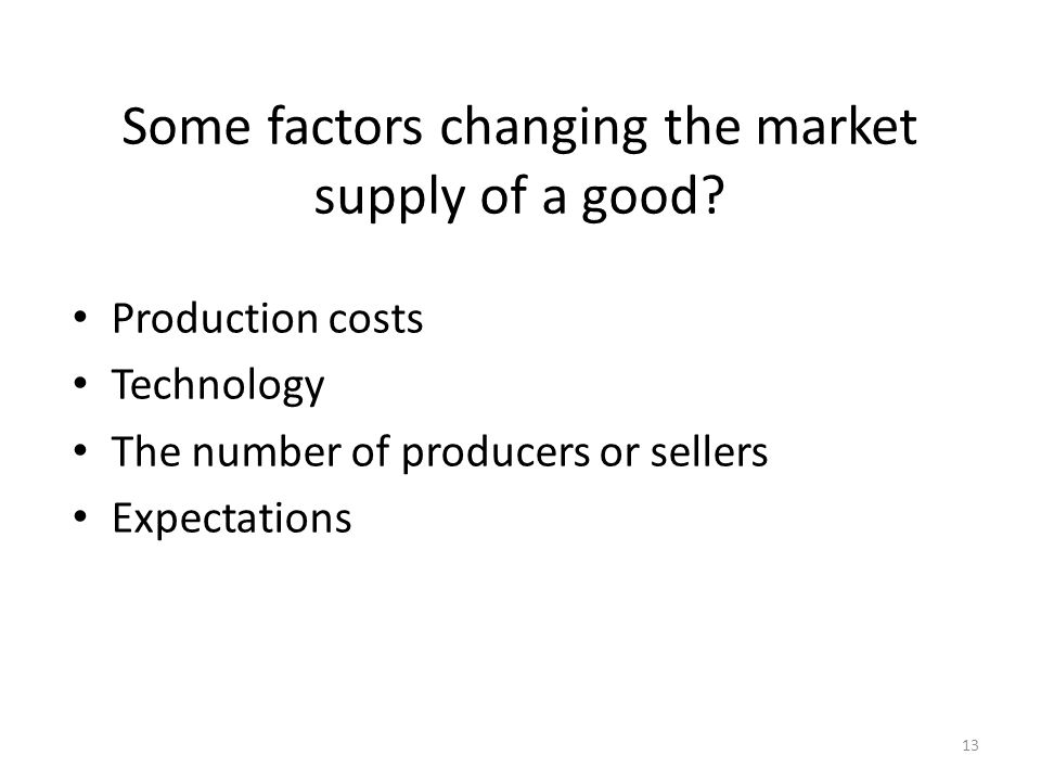 13 Some factors changing the market supply of a good.