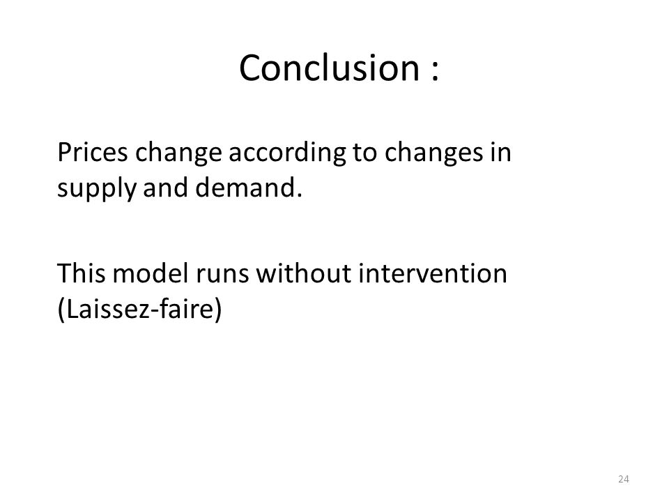 Conclusion : Prices change according to changes in supply and demand.