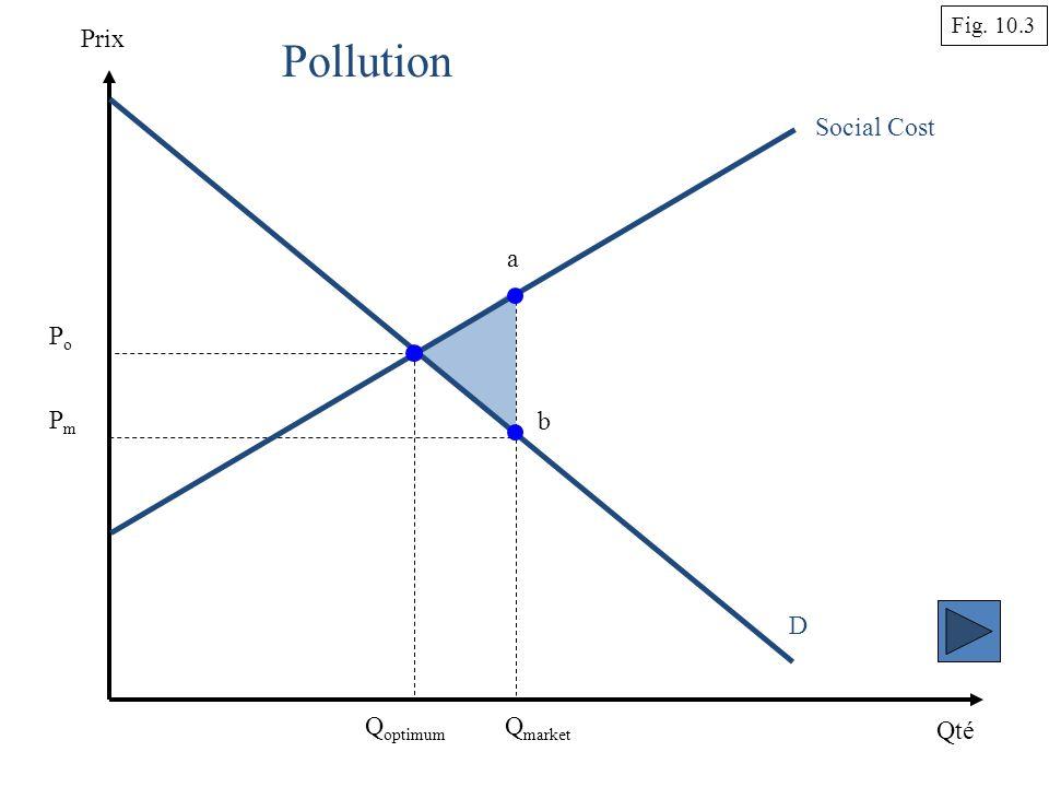 Qté Prix D Q market Social Cost Pollution Q optimum Fig. 10.3 PoPo PmPm a b