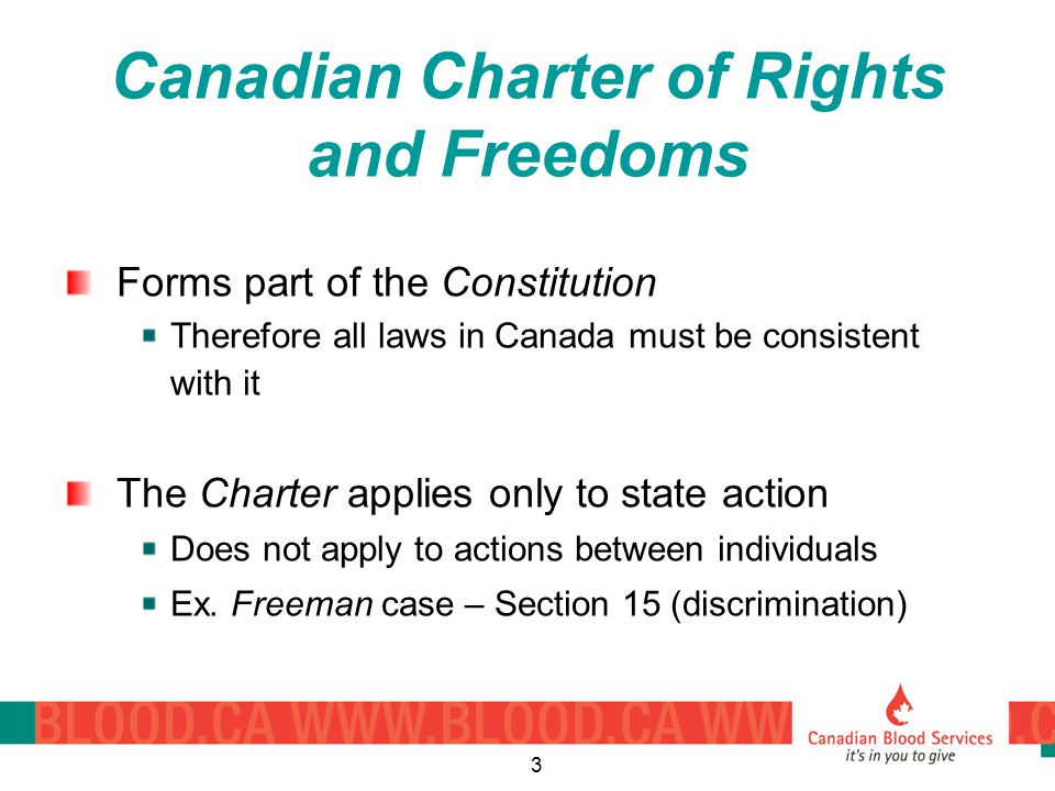 3 Canadian Charter of Rights and Freedoms Forms part of the Constitution Therefore all laws in Canada must be consistent with it The Charter applies only to state action Does not apply to actions between individuals Ex.