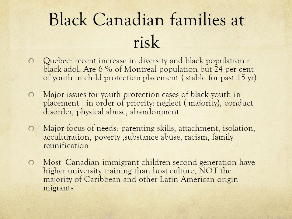 Black Canadian families at risk Quebec: recent increase in diversity and black population : black adol. Are 6 % of Montreal population but 24 per cent