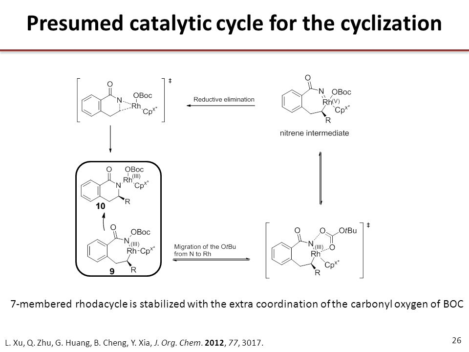26 Presumed catalytic cycle for the cyclization 7-membered rhodacycle is stabilized with the extra coordination of the carbonyl oxygen of BOC L.